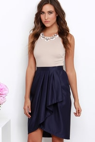 Leave Me Breathless Navy Blue High-Low Wrap Skirt at Lulus.com!