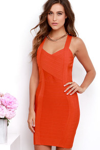 Rush Hourglass Coral Red Bandage Dress at Lulus.com!
