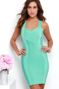 Rush Hourglass Mint Bandage Dress at Lulus.com!