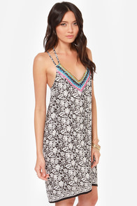 Back to Bali Black Floral Print Dress at Lulus.com!