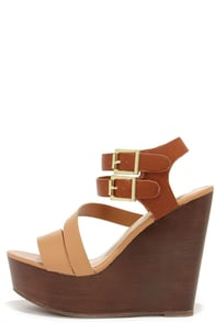 As You Wish Natural Platform Wedge Sandals at Lulus.com!