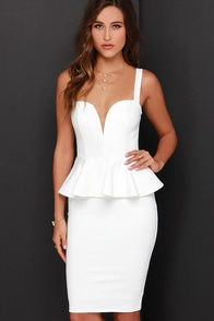 Pep-lum Talk Ivory Midi Dress at Lulus.com!