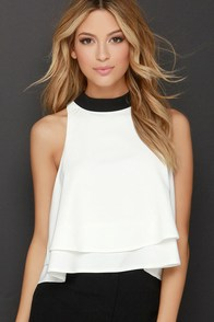 Fine-Tune Black and Ivory Crop Top at Lulus.com!