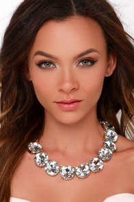 Hear Me Aurora Clear Rhinestone Statement Necklace at Lulus.com!