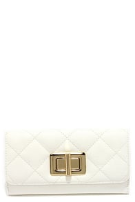 My Lady Ivory Quilted Wallet at Lulus.com!