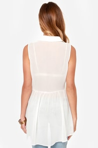 Black Swan Romance Sheer Ivory Top at Lulus.com!