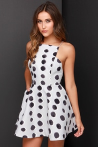 Keepsake Restless Heart Light Grey Polka Dot Dress at Lulus.com!