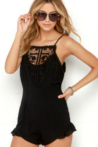 Play by Playsuit Black Lace Romper at Lulus.com!