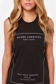 Laundry Room Party Shirt Distressed Black Muscle Tee at Lulus.com!