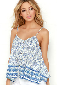 O'Neill Billie Blue Print Crop Top at Lulus.com!