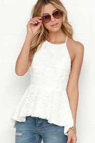 Lace Exploration Ivory Lace Peplum Top at Lulus.com!