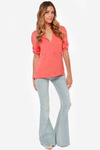 Stay 'til Sunset Coral Top at Lulus.com!