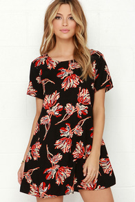 Obey Blythe Black Floral Print Dress at Lulus.com!