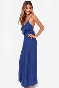 LULUS Exclusive Silent Lagoon Royal Blue Maxi Dress at Lulus.com!