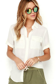 Best of Friends Ivory Button-Up Top at Lulus.com!