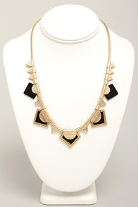 Another Bling Coming Gold and Black Necklace at Lulus.com!