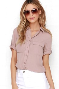 image Best of Friends Mauve Button-Up Top