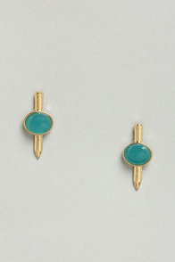 Spike Your Fancy Teal Earrings at Lulus.com!