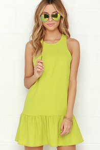 Frill of the Chase Chartreuse Dress at Lulus.com!