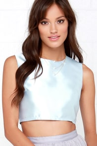 Glamorous How Divine Light Blue Crop Top at Lulus.com!