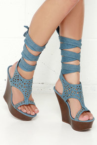 Lift Wrap Blue Denim Leg Wrap Wedges at Lulus.com!