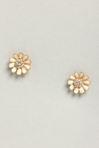 What Is It Good Fleur Ivory Rhinestone Earrings at Lulus.com!