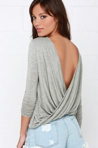 Walk Twist Way Heather Grey Long Sleeve Top at Lulus.com!