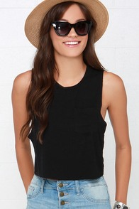 Tank-ly Speaking Black Crop Tee at Lulus.com!