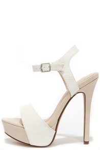 Basking Nicely White and Beige Lizard Platform Heels at Lulus.com!