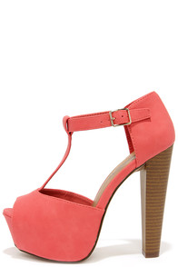 Care for a Lift? Grapefruit Pink T-Strap Peep Toe Platform Heels at Lulus.com!