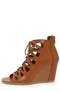 Mia Madelynn Tan Lace-Up Peep Toe Booties