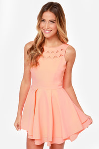 Flirting with Danger Neon Coral Dress at Lulus.com!