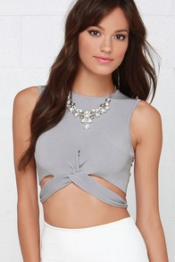Wishful Thinking Grey Crop Top at Lulus.com!