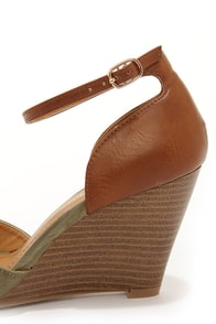 City Classified Missy Khaki and Tan Peep Toe Wedge Sandals at Lulus.com!
