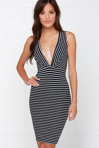 Nauti-call the Shots Ivory and Navy Blue Striped Dress at Lulus.com!
