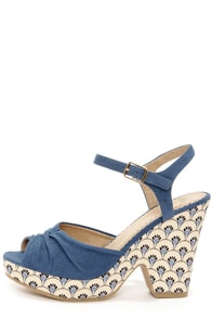 Restricted My Turn Blue Print Heels
