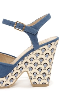 Restricted My Turn Blue Print Heels at Lulus.com!