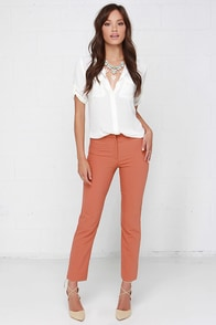 Glamorous Sophisticated Lady Terra Cotta Pants at Lulus.com!