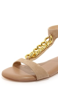 Obsession Rules Goldie Nude Suede Sandals at Lulus.com!