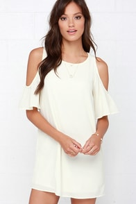 Kiss the Girl Cream Off-the-Shoulder Shift Dress at Lulus.com!