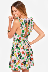 Pretty Parrots Pink Tropical Print Dress at Lulus.com!