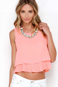 Lost in the Lights Bright Coral Top at Lulus.com!