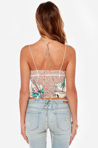 Crop-a-mamie Ivory Floral Print Halter Top at Lulus.com!