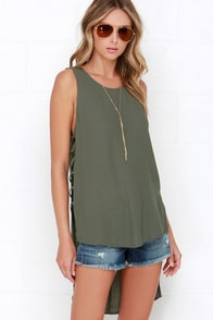 Winner Winner Olive Green High-Low Top at Lulus.com!