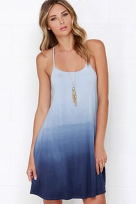 High Tide Hues Blue Dip-Dye Dress at Lulus.com!