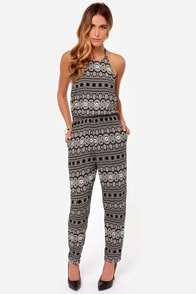 Desert Dawn Ivory and Black Print Jumpsuit