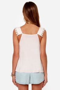 Ladakh Lace Race Voile Blush Tank Top at Lulus.com!