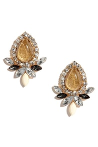 Gilded and Glowing Amber Rhinestone Earrings at Lulus.com!