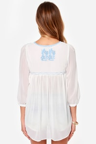 Collective Concepts Prairie Me Embroidered Ivory Top at Lulus.com!