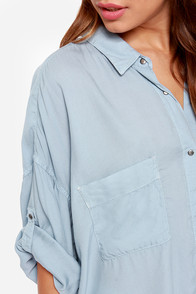 Boyfriends Forever Light Blue Button-Up Top at Lulus.com!
